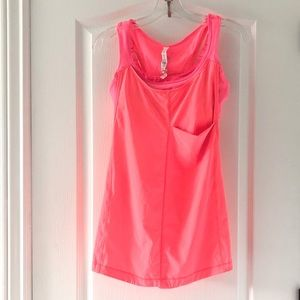Lululemon coral tank top with attached bra